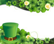 Leprechaun hat, clover and gold coins