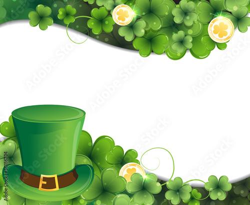 Leprechaun hat, clover and gold coins