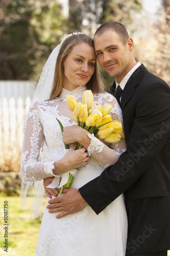 Caucasian bride and groom