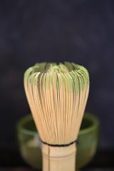 Tea whisk with matcha green tea powder