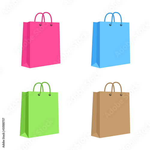 Blank Paper Shopping Bag With Rope Handles. Set. Pink, Blue, Gre