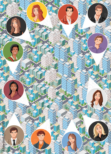 Big isometric city with cartoon young people faces. Neighbors.