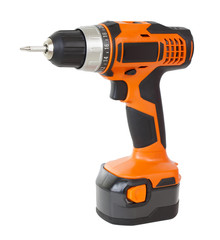 Battery screwdriver isolated over white