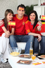 Group of friends supporting the Spanish football team