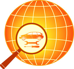 sign with car, wrench and screwdriver in magnifier on planet