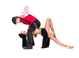 gangster man dancing with girl isolated on white