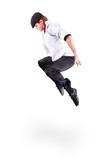 young gangster man jumping isolated on white