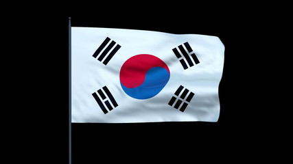 South Korea Flag Waving, Seamless Loop