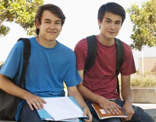 Caucasian school friends sitting together