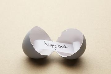 Broken open egg with happy easter message inside