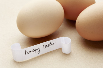 Happy easter message with eggs