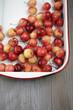Rainier cherries in pan