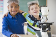 Students working together in science class