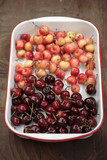 Rainier and bing cherries in pan