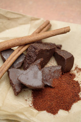 Mexican chocolate and cinnamon sticks