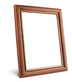 Simple wooden picture frame isolated on white with clipping path