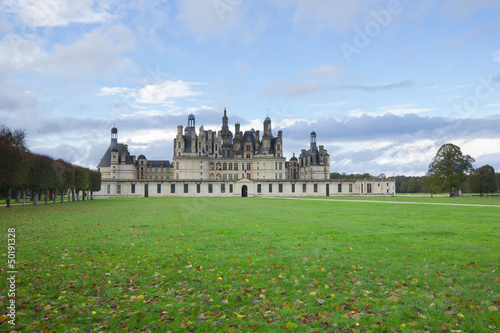 Chambord palace after rain, Loire Valley, France