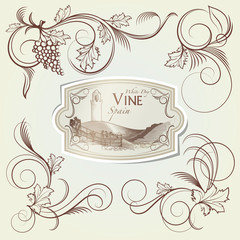 Grape Curls and Vine Label