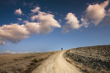 Man walking on dirt road