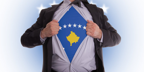 Business man with Kosovo flag t-shirt