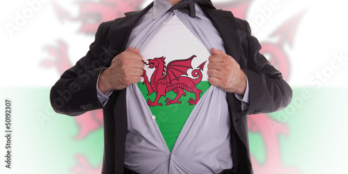 Poster Business man with Welsh flag t-shirt
