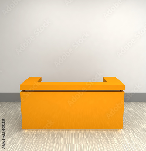 yellow plastic reception counter