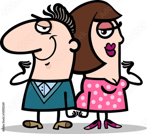 cheerful man and woman couple cartoon