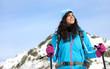 Beautiful woman winter hiking