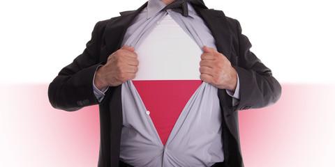 Business man with Polish flag t-shirt