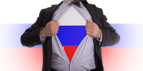 Business man with Russian flag t-shirt