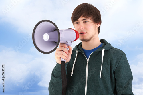 Young man with megaphone