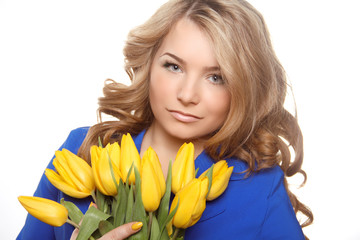 Beautiful woman portrait with tulips isolated on white backgroun