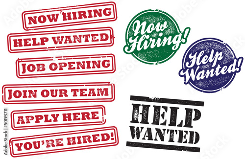 Help Wanted and Now Hiring Stamps