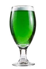 Green beer over white
