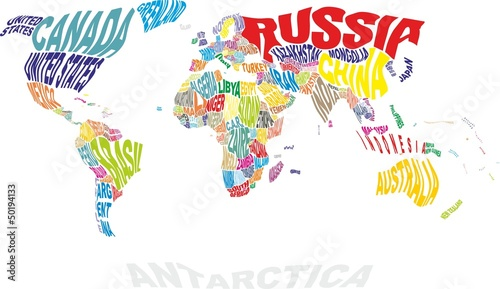 Poster Wereldkaart world map with countries names