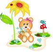Teddy bear picking flowers