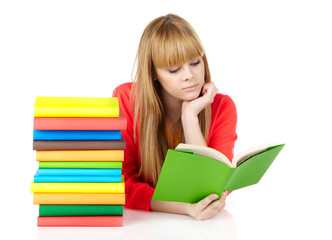 young girl with books Isolated on white background