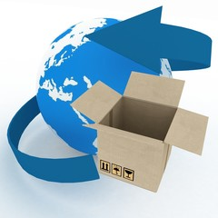 3d cardboard box and globe. Worldwide shipping concept.