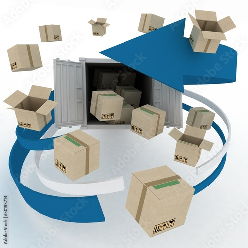 3d cardboard boxes around  container on white