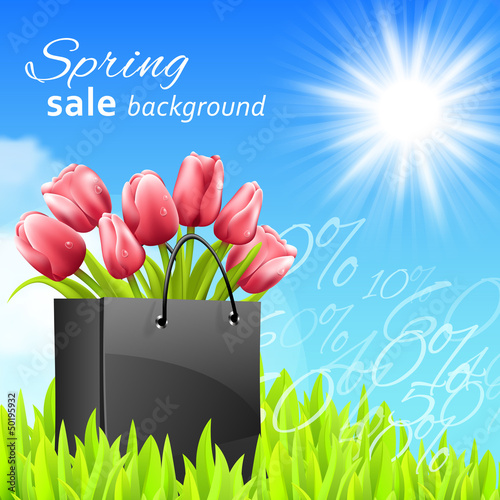 Sprin sale background with tulips