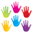 colorful hand prints vector, poligonal art