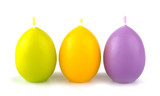Colorful Easter candles  isolated on white background