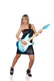 Sexy guitarist with a black leather dress