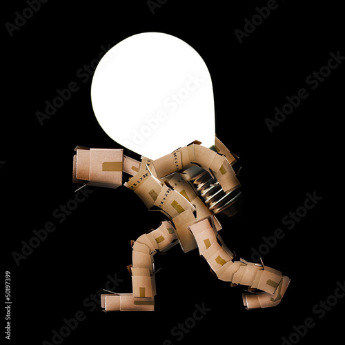 Box man carrying light bulb on back