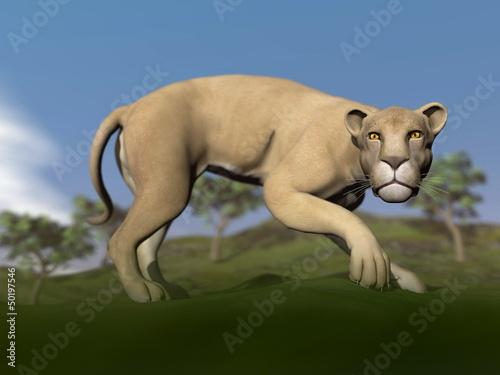 Vigilent lioness - 3D render
