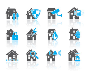 House security icons-blue