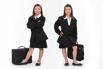 schoolgirls dressed as businesswomen