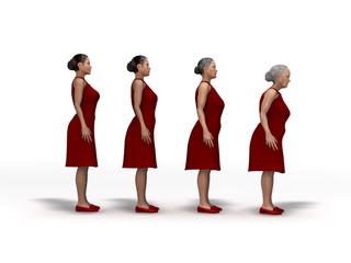 Proceso de envejecimiento de una mujer