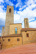 San Gimignano, square and towers. Tuscany, Italy, Europe.