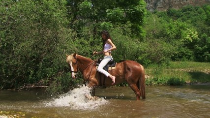 Beautiful horsewoman crossing a river